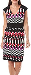 London Times Women's Cap Sleeve Inset Waist Sheath Dress Pink Combo Dress 12