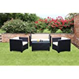 Tresco Black Synthetic Rattan All Weather Outdoor Rattan Garden Furniture Sofa Setby Wovenhill Rattan...