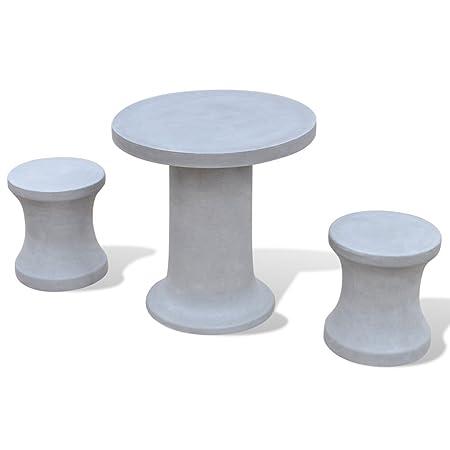 Anself Gartenmöbel aus Beton Gartentisch aus Stein mit 2 Steinhockern
