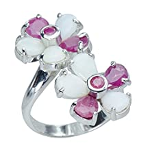 buy Natural Rare African Ruby Gemstones Syn. Opal 925 Sterling Silver Hippie Ring