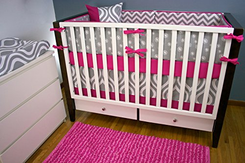 Modified Tot Crib Bedding, Pink and Gray - 1
