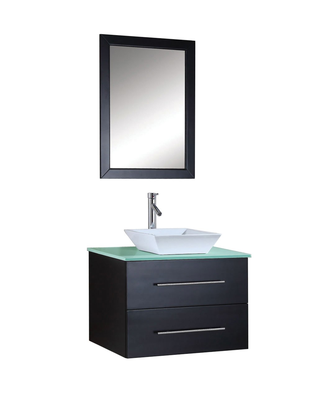 Virtu USA MS-560-G-ES Marsala 30-Inch Wall-Mounted Single Sink Bathroom Vanity Set with Tempered Glass Countertop, Espresso Finish