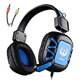 Gaming Headset AFUNTA 3.5mm Stero Over Ear Wired GT G1 Gaming Headphone with Microphone Volume Control Noise Reduction for PC Laptop Apple iphone 6 6s plus Samsung Smartphones Tablet-Black/Blue
