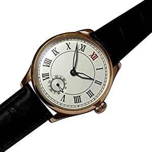 Whatswatch 44mm parnis white dial rose golden plated case 6498 hand winding mens watch PA-01181