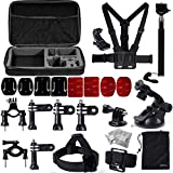 XCSOURCE Gopro Accessories Set for Gopro Hero 2 3 3+ 4 including Wrist Strap Mount +Chest Belt Strap Mount + Head Belt Strap Mount + Extendable Handle Monopod Pole +Suction Cup Mount + Flat/Curved Adhesive Mounts +Carry Bag OS94
