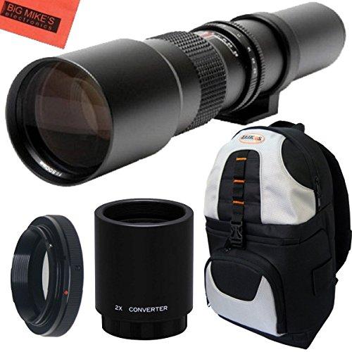 High-Power 500Mm/1000Mm F/8 Manual Telephoto Lens + Deluxe Slr Backpack For Nikon D90, D3000, D3100, D3200, D3300, D5000, D5100, D5200, D5300, D7000, D7100, D300, D300S, D600, D610, D700, D750, D800, D800E, D810 Dslr