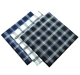 KINGDESON Men\'s Elegent Checkered Cotton Hankie Hankerchiefs gift set 3PCS