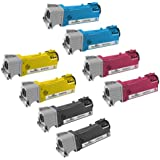 Speedy Inks - Compatible Dell Set of 8 Toner Cartridges for Dell 2150, 2155 Printers: 2 Black, 2 Cyan, 2 Magenta, 2 Yellow