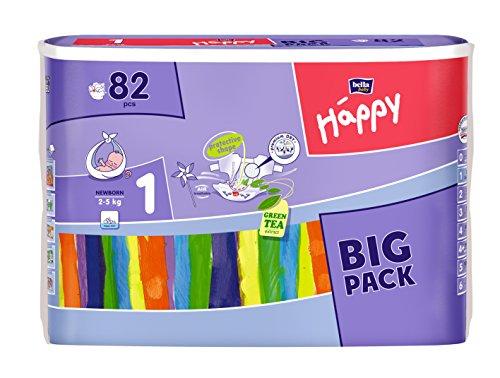 Bella Baby Happy Windeln, Big Pack, Größe 1 (Newborn) 2-5 kg, (1 x 82 Windeln)