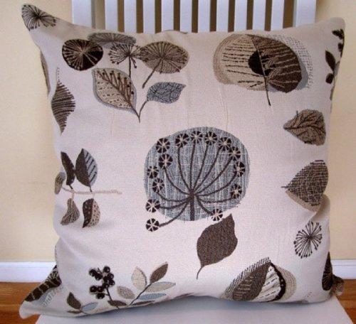 Blue Brown Decorative Pillow Cover Floral Decorative Throw Pillow