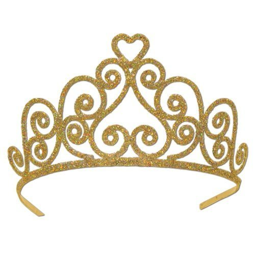 Beistle 60641-Gd Gold Glittered Metal Tiara front-309043