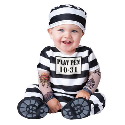Boo Infant Boys & Girls Time Out Prisoner Costume With Tattoo Sleeves front-993015