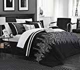 Chic Home 7 Piece Michael Embroidered Contemporary Duvet Set, King, Black With White Sheet Set