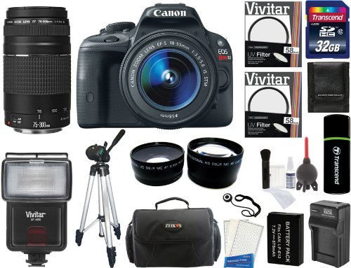 Canon Eos Rebel Sl1 Digital Slr Camera With Ef-S 18-55Mm F/3.5-5.6 Is Stm Lens + Canon Zoom Telephoto Ef 75-300Mm F/4.0-5.6 Iii Autofocus Lens + 32Gb Card + Flash + Tripod + Case + Battery + Filters + 2 Lenses + Accessory Kit