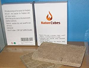 Katon Cubes Charcoal Fire Starter. 128 count Per Box (24 cubes/$3). Buy 2 boxes and get $4 off on the 2nd box. More safe and cost effective than lighter Fluid. Size of cube: 5.5*31.5*16mm by R&C Retail