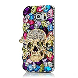 Samsung Galaxy S6 Active Case, Sense-TE Luxurious Crystal 3D Handmade Sparkle Glitter Diamond Rhinestone Ultra Thin Clear Cover with Retro Bowknot Anti Dust Plug - Skull / Colorful