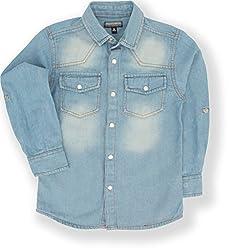 TONYBOY Boys Casual Denim Shirt (Blue)