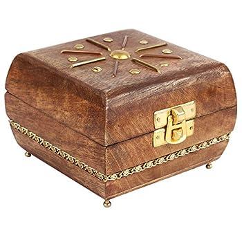 GoCraft Wooden Jewelry Box Keepsake Organizer - Handmade with elegant Brass metal design - 4