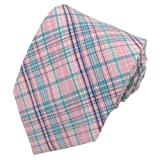 Absolute Stores Boys Prep Pink & Turquoise Uptown Cotton Plaid Tie