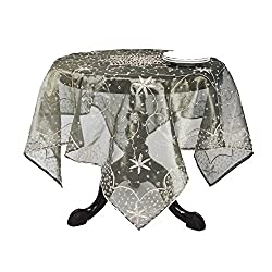 SARO LIFESTYLE BD16 Beaded Round Tablecloth, 40-Inch, Olive