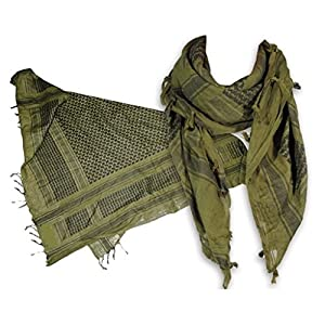 AguaForma Two Shemagh Military Tactical Scarf Set ✮ Best Head, Neck & Body Gear for Outdoor Sports, Severe Weather & Fashion ✮ Includes 1 Green & 1 Khaki, Plus a Bonus Gift ✮ For Sports, Hiking, Hunting, Motorcycling, Paintball, Survival ... and Sty