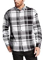 Solid Camisa Hombre (Blanco / Negro)