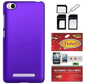 Tidel Ultra Thin and Stylish Rubberized Back Cover for Xiaomi Mi 4i (Purple) With Screen Guard & Micro/Nano Sim Adapter