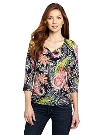 Caribbean Joe Women's Windsor Paisley Side Rouch Top, Military Blue, Small