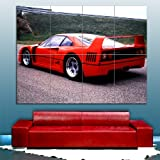 Ferrari f40 RED 1987 Giant Poster Premium Wall Art Picture By Whatsonyourwall, Sized A3 or A0, Extra Large Quality Print On 250gms Glossy Card Paper A0