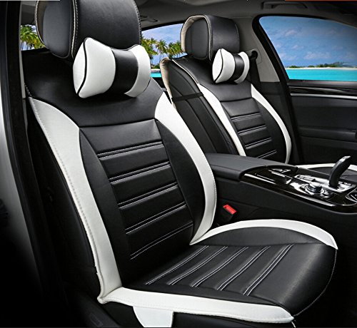 Moonet Front Rear Car Trunk Bucket Seat Cushion Covers PU Leather 8pcs Full Set Black White (Zebra Car Seat Cover Pu Leather compare prices)