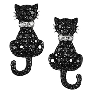 Alexandria Collection Sterling Silver Cubic Zirconia Cat Earrings