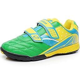 Tiebao Boys\' Hard Ground Indoor Pu Leather Green&Yellow Soccer Shoes,Little Kid US11