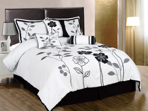 Chezmoi Collection 7-Piece White, Grey, and Black Lily with Leaf Applique Comforter 104-Inch by 92-Inch Set, Bed-in-a-bag King Size Bedding