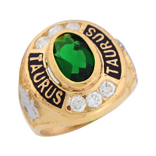 14ct Two Colour Gold Synthetic Emerald CZ May Birthstone Taurus Zodiac Mens Ring