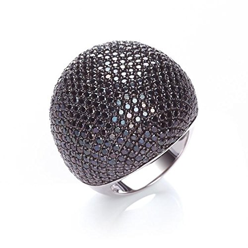 J JAZ - Sterling Silver & 503 Black Cz Micro Pave Large Dome Cocktail Ring Hallmarked