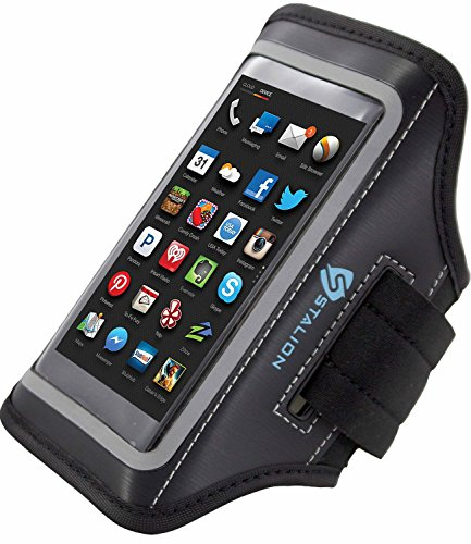 Amazon Fire Phone Armband: Stalion® Sports Running & Exercise Gym Sportband (Jet Black) Water Resistant + Sweat Proof + Key Holder (Amazon Phone Armband compare prices)