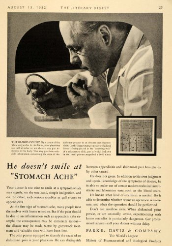 1932 Ad Parke Davis Blood Count Doctor Microscope Slide - Original Print Ad