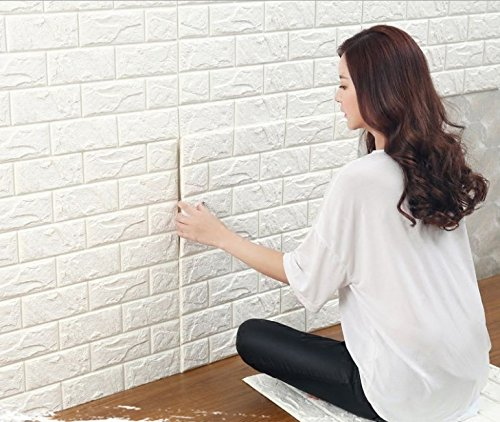 10pcs 27x33 Inch 3D Brick PE Foam DIY Wall Sticker Self Adhesive Wallpaper ,White Brick Wallpaper,3D Wall Panels