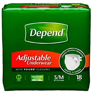 Depend Adjustable Underwear, Small/Medium, 18-Count Packages (Pack of 4) from Depend