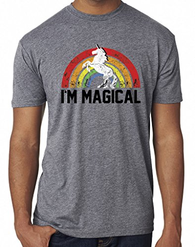 SoRock Men's I'm Magical Rainbow Unicorn Tri Blend Tshirt Xlarge Heather Grey