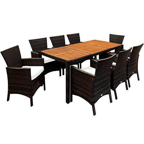17tlg polyrattan sitzgruppe akazienholz gartenm bel lounge gartenset essgruppe sitzgarnitur rattan. Black Bedroom Furniture Sets. Home Design Ideas