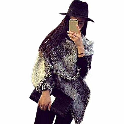 Amison Tartan grande sciarpa scialle moda donna Stola Plaid nappe Scarf(Grigio)
