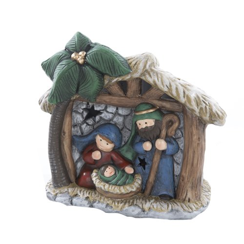Kurt Adler 5-1/2-Inch Ceramic Holy Family Led Tablepiece