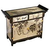 "Handmade Asian Furniture - 40"" Black & Gold Lacquer Wood Pagoda Style Buffe ...."