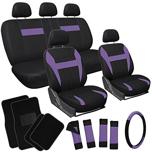 OxGord 21pc Black & Purple Flat Cloth Seat Cover and Carpet Floor Mat Set for the Mazda 323 Hatchback, Airbag Compatible, Split Bench, Steering Wheel Cover Included (Mazda 323 Steering Wheel compare prices)
