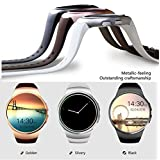 Bluetooth Smart Watch KW18 1.3 inches IPS Round Touch Screen Water Resistant Smartwatch Phone with SIM Card Slot,Sleep Monitor,Heart Rate Monitor and Pedometer for IOS/Android Device (Dark Grey)