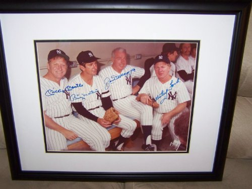 Yankees Legends Signed & Framed 11x14 Mickey Mantle, Joe DiMaggio, Billy Martin & Whitey Ford Signed & Framed 11x14 Photo...Whitey Ford Letter of Authenticity at Amazon.com