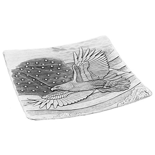 Wendell August Forge Stars and Strips Square Snack Plate, Silver