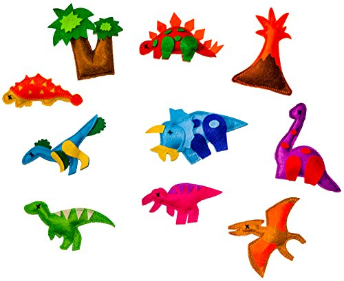 Fridge-Magnetic-Felt-Dino-Toy-10-Piece-Set-Play-Dinosaurs-T-Rex-Volcano-Trees-Imaginative
