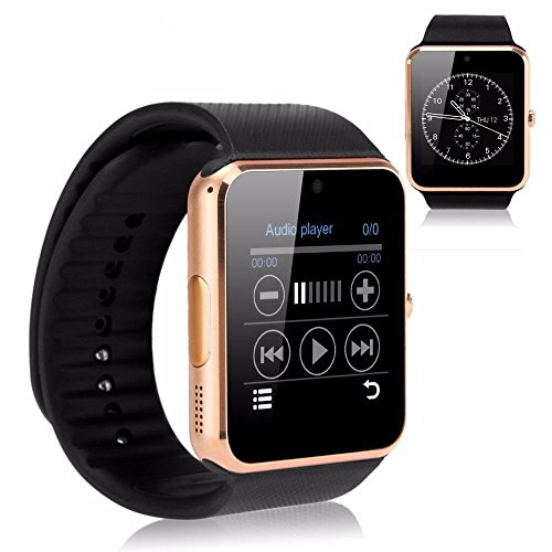 Evershop® Newest SIM Card NFC Bluetooth Smart Watch Wristwatch Phone Mate Independent Smartphone with SIM Card for Android IOS (Gold)